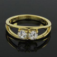 14K Yellow Gold Plated 0.70ct Round Cut VVS Diamond Two Stone Ring 6.5 045I #Jewelryauctionhouse #TwoStone