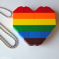 LEGO heart collectible (Double thickness) Model 1 (RAINBOW) on a 24 Silver/Gold plated ballchain