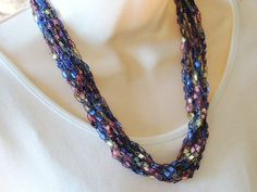 Multicolored Ladder Yarn Necklace  Crocheted with Ladder Ribbon Yarn