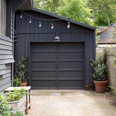 Best 29 Modern Garage Garage Conversion Design Photos And Ideas Modern Garage Doors, Garage Door Design, Black Garage Doors, Modern Carport, Painted Garage Doors, Industrial Garage Door, Garage Door Styles, White Doors, Black House Exterior