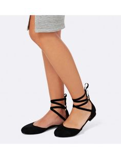 Frankie Ankle Tie Ballet Flats Back Image