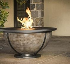 "Bodaway Bowl 48"" Round Natural Gas Fire Pit Tables, Powder Coated Steel & Onyx Finish"