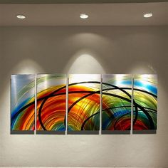 Abstract metal wall art painting rainbow  modern by HawkArtWorks, $199.00