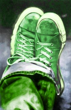 """Green - thomassaliot:"""" Red Converse allstar 180/120cm oil on canvas"""" - Saved from yocastas.tumblr.com"""