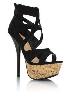 GJ   Cage Platform Heels $40.60 in BLACK FUCHSIA SEAGREEN - How To Wear Crop Tops   GoJane.com