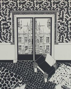 Zoom of Sowden's pattern mixing apartment with a Gothic view. GEORGE J. SOWDEN Set of three lithographs, interiors, Each signed, dated Milano 1985 and numbered and Each sheet: 19 x 27 framed: 20 x 28 link Checkerboard Floor, Memphis Milano, Study Architecture, Perspective Drawing, Pattern Mixing, Painting Patterns, Designer Wallpaper, Line Drawing, Vintage Prints