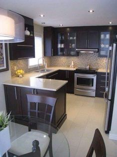 New Kitchen Renovation Ideas Layout Ideas Dark Kitchen Cabinets, Kitchen Paint, Kitchen Layout, Kitchen Colors, Kitchen Countertops, Kitchen Backsplash, New Kitchen, Kitchen Small, Kitchen Island