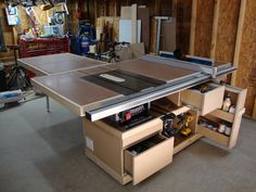 Miter saw, wood tools, table saw workbench, woodworking table saw, woodwo. Woodworking Table Saw, Woodworking Workshop, Woodworking Bench, Woodworking Projects, Woodworking Quotes, Woodworking Techniques, Woodworking Classes, Table Saw Workbench, Workbench Ideas