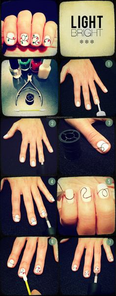 By Caroline W. Source:http://thebeautydepartment.com/Here is their tutorial:On clean nails, do a solid coat (or two thin coats) of white or off white polish.After the white polish dries, do one clear coat. The string will adhere to this so make sure it's not too fast drying or too thin of a coat.Drape black string over the nail and let it loop as you see Lauren doing in the photo. Cut the string about 1/2 inch longer on each side of the nail. Don't trim it down yet.Add a thin clear coat on t...