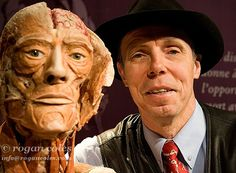"""Dr Gunther von Hagens poses next to one of his Body Worlds 2 exhibit, Quebec, Canada. The exhibition, billed as an """"anatomical exhibition of real human bodies"""", is the creation of doctor and anatomist Dr Gunther von Hagens and his wife Dr Angelina Whalley and displays over 200 authenitic human body specimens. Dr. Von Hagens is a controversial German anatomist who invented the technique for preserving biological tissue specimens called plastination."""