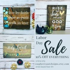 LABOR DAY SALE!!! 10% off all listings in my my etsy shop only! Sale ends Monday September 4th. #linkinprofile or at -----> raspberrypatchsigns.etsy.com ..... #laborday #labordaysale  #raspberrypatchsigns #signs #handpainted #rusticsigns #woodsign #signmaker #ampainting #faithpainter #HisWord #bibleart #scriptureart #nostencil #etsy #etsyseller #etsybestseller #etsyshop #shoplocal #shopsmall #pnwmade #madeinoregon #easternoregoncrafter
