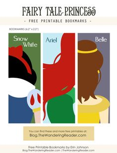 """Free printable fairy tale princess bookmarks inspired by the Disney re-tellings of """"Snow White"""" """"The Little Mermaid"""" and """"Beauty and the Beast."""""""