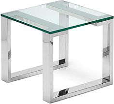 Arissa Side Table  Polished stainless steel with glass top. 550mm x 550mm x 500mm h.   Available in polished stainless steel and all paint finishes.