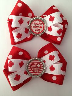 Canada Day Double Hairbows How To Make Bows, Cool Things To Make, Canada Holiday, Happy Canada Day, O Canada, Diy Bow, My Cup Of Tea, Party Themes, Party Ideas