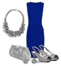 """Blue Dress - option #2"" by michellesolinas ❤ liked on Polyvore featuring MANGO, Nine West, Swarovski and Stella & Dot"