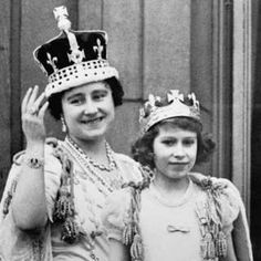 90 years in pictures - Queen Elizabeth. Pictured: the Queen Mother with her eldest daughter Princess Elizabeth on the balcony of Buckingham Palace, after the coronation of King George VI