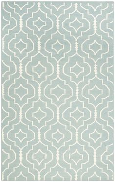 $5 Off when you share! Safavieh Dhurries DHU637 Light Blue Ivory Rug | Contemporary Rugs #RugsUSA