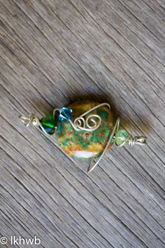 Tumbled Stone Pendant, Wire Wrapped, OOAK, Silver Wire, Vintage Paste Beads, Green Yellow Brown Blue, Nature, Elegant, Statement Piece by DoubleEweBee on Etsy