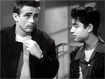 """GIF - Natalie Wood, James Dean, Sal Mineo - behind the scenes on ''Rebel without a Cause"""""""
