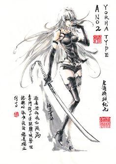 Nier Automata Ps4, Neir Automata, Fantasy Characters, Female Characters, Fantasy Comics, Shinigami, Fantasy Inspiration, Video Game Art, Character Art