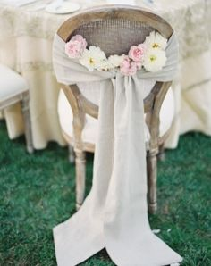 Linen Vintage Chairback Idea | Linen Wedding Table Runner | Vintage Wedding Decorations from Afloral.com