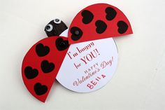 Make your own ladybug Valentine! Free printable and tutorial #make #valentine skiptomylou.org
