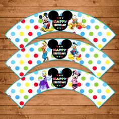 Mickey Mouse Cupcake Wrappers Dots Chevron  by NineLivesNotEnough