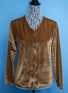 **SOLD** 90's Gold Velvet Cardigan by JenuineCollection on Etsy