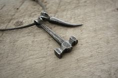 Forged Thor's hammer and claw pendant