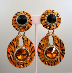 Hand crafted, hand painted animal print earrings with Swarovski crystals. Large and light weight. by Jewelry designer Rosemary Summers. Animal Print Earrings, Statement Earrings, Drop Earrings, Jewelry Box, Jewellery, Jewelry Designer, Animal Paintings, Making Ideas, Washer Necklace