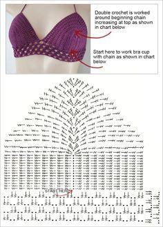 Pretty free bikini top for crochet. Great bikini top, with a simple . - Fitness Pretty free bikini top for crochet. Great bikini top to go with a simple . Motif Bikini Crochet, Tops A Crochet, Mode Crochet, Crochet Bra, Crochet Crop Top, Crochet Clothes, Crochet Books, Crochet Stitch, Simple Crochet