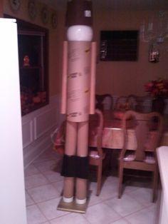 6ft nutcracker made from cardboard tubes with Styrofoam head