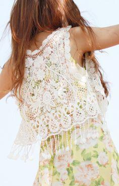 White Tassel Hem Crochet ++