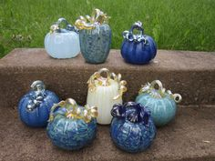 Hand blown glass pumpkins by CatherineAyers on Etsy, $75.00
