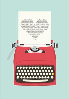 Poster para imprimir - máquina de escrever