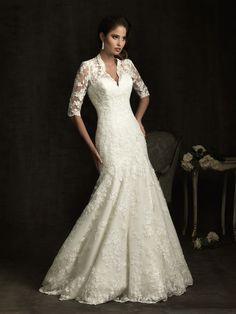 Allure Bridals 8900 Vintage Lace Wedding Dress Half Sleeves Pretty Neckline