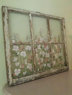 Old Windows Painted Old Windows All Windows Sold Custom Orders WelcomeHand Painted Windows Wall Art Shabby Chic Floral Painted Windows Baños Shabby Chic, Cocina Shabby Chic, Shabby Chic Antiques, Shabby Chic Bedrooms, Shabby Chic Kitchen, Shabby Chic Furniture, Shabby Cottage, Repurposed Furniture, Vintage Furniture