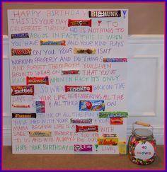 Th Birthday Candy Bar Poems Birthday Poems, Birthday Candy, 40th Birthday Parties, Dad Birthday, Birthday Crafts, Birthday Board, Funny Birthday, Candy Bar Poems, Candy Bar Cards
