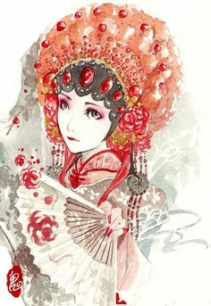 could be blend of pink and red with white instead of black and red with gold. Illustrations, Illustration Art, Laos, Vietnam, Chinese Background, Chinese Element, Chinese Opera, Special Images, China Art