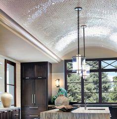 Tiled barrel ceiling in kitchen