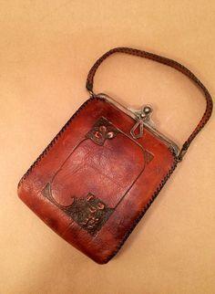 Jemco 1930's Art Nouveau Tooled Leather Purse