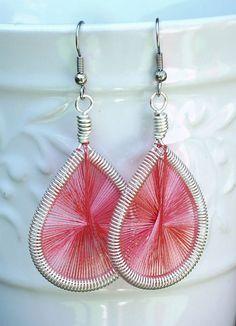 Teardrop Peruvian String Art Earrings Silver by GilliansLocker, $11.00