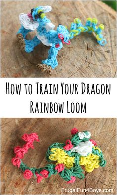 How to Train Your Dragon Rainbow Loom - Frugal Fun For Boys and Girls Loom Band Patterns, Rainbow Loom Patterns, Rainbow Loom Creations, Rainbow Loom Bands, Rainbow Loom Charms, Rainbow Loom Bracelets, Wonder Loom, Loom Craft, Crafts For Boys
