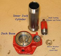 The small jacking-piston and cylinder create high pressure using the principle of mechanical leverage. Description from blog.skylighter.com. I searched for this on bing.com/images