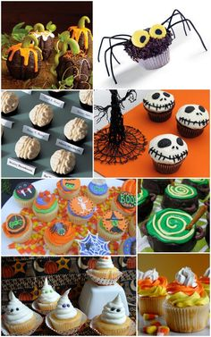 This pin shows a variety of Halloween cupcake ideas.  I really like the little brains and candy corns.  I LOVE the Jack Skellington ones!