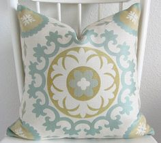 Decorative pillow cover - Throw pillow - Suzani Pillow - 20 x 20 - Suzani - Ivory - Light blue - Chartreuse green - Designer fabric on Etsy, $65.00