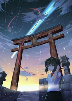 """Miyamizu Mitsuha"" Anime movie: Kimi no na wa Anime Sky, Anime Galaxy, Manga Anime, Hayao Miyazaki, Mitsuha And Taki, She And Her Cat, Your Name Anime, Pelo Anime, Graphisches Design"