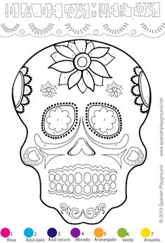 Easy Spanish color-by-number activity for Día de los Muertos. Great to use with kids learning Spanish for Day of the Dead. Practice Spanish vocabulary for parts of the face, colors in Spanish and numbers in Spanish.  http://spanishplayground.net/spanish-color-by-number-easy-picture-dia-de-los-muertos/ #artsandcrafts