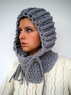 Knight Knit Hood Super soft Virgin  wool Unisex Hood by GiuliaKnit, $65.00