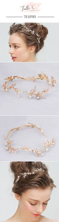 Wedding   Hairpieces Pearls leaves Rhinestones